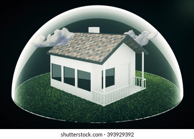 Real estate bubble and clouds on black background. 3D Render