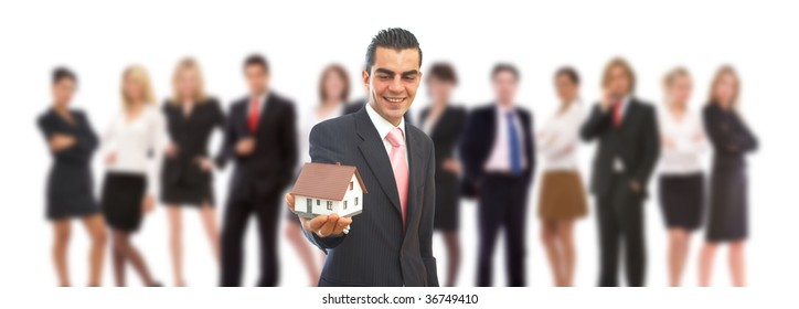 real estate in business concept with a house and business people