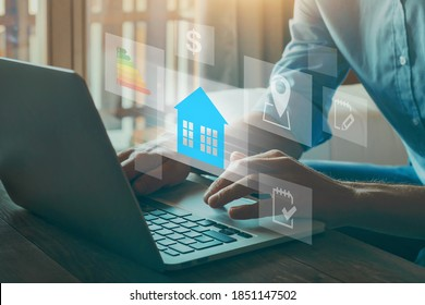 real estate, buy house concept, choosing home with parameters of price, location, evergy efficiency rating and property value
