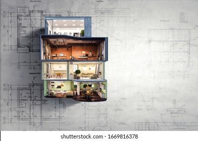 Real estate concept . Mixed media