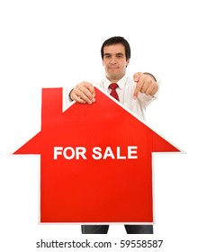 Real estate concept with pushy agent showing sign - isolated