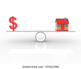 Real estate dollar and house balance 3d rendering