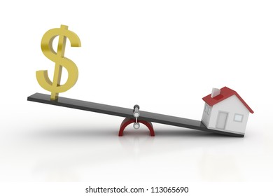 Real Estate - Dollar and House on Weight Scale