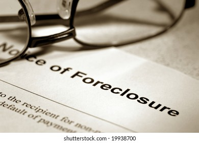 Real estate finance lender home notice of foreclosure with glasses (fictitious document with authentic legal language)