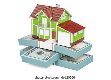 Real estate financial concept, house with packs of dollars. 3D rendering