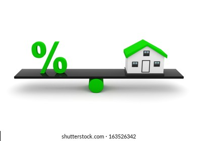 Real Estate, Home With Percentage Sign.