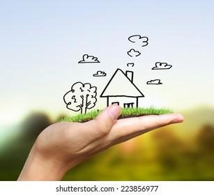 Real estate idea, holding house