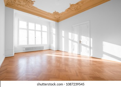real estate interior - empty room in classical restored building