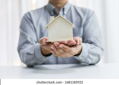 Real estate investment Property insurance and security. Real estate agent offer house.