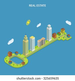 Real estate isometric flat concept. City buildings that stays on the huge green key. Searching houses, apartments, offices for rent and sale.