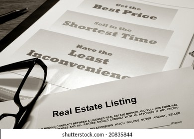 Real estate listing contract over professional realtor agent marketing and advertising presentation binder with house sale strategy slogans (fictitious document with authentic legal language)