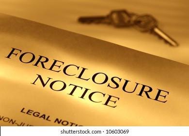 Real estate loan finance lender home foreclosure notice letter with set of house keys