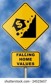 Real estate market collapse road sign on blue sky.