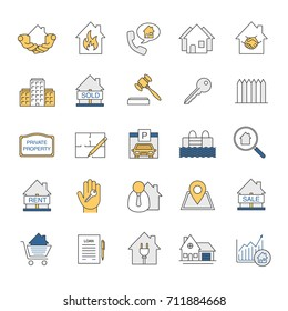 Real estate market glyph icons set stock illustration 711883063 real estate market color icons set property development building business home house malvernweather Image collections