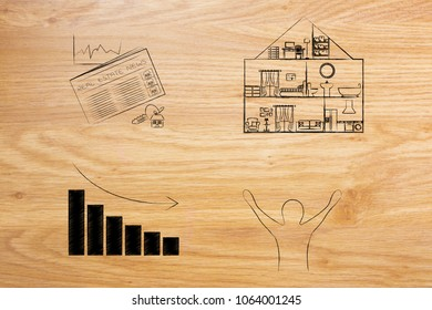 real estate prices and market trends conceptual illustration: newspaper next to house with price going down and happy potential buyer or tenant