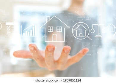 Real estate theme with young man holding his hand