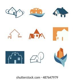Real Estate web icons set. House logos. Construction logo. Graphic illustration