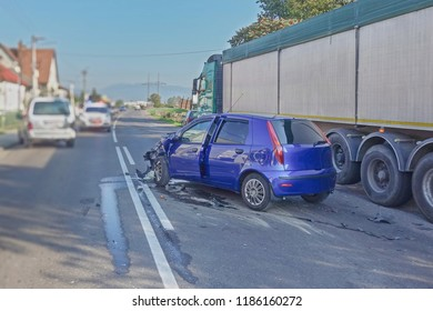 Real event. Car accident. The car crashed on the road . Car accident involving two cars on the road.