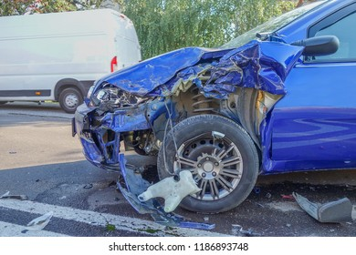 Real event. Car accident. The car crashed on the road . Blue Car accident on the road.