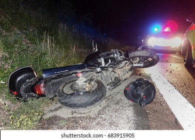 Real event, Motorcycle accident, crash at night on a wet road