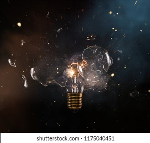 real explosion of vintage electric bulb, close-up.