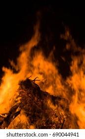 real fire flame render, bonfire campfire camp fire hot orange flame.