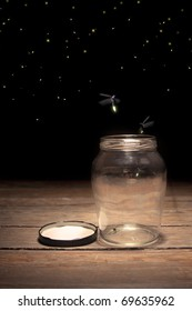 real fireflies in a jar