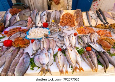 Real fish market and fresh fish, seafood from Atlantic ocean in Morocco