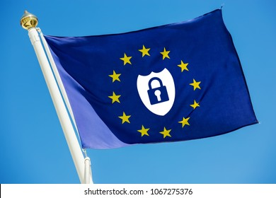 Real flag of European Union with safe icon about new european law inside