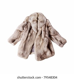 real fox fur coat isolated on white background