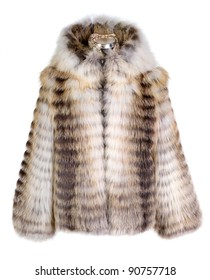 Real fur coat isolated on white background