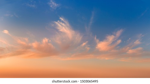 Real Gentle sunrise sundown sky and colorful light clouds, huge size panoramic