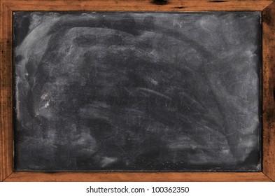 Real grunge blank blackboard copyspace with wood frame
