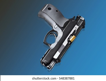 real hand gun pistole photomanipulation with reflection on a background