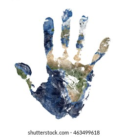 Real hand print combined with a map of Africa of our blue planet Earth - isolated on white background. Elements of this image furnished by NASA