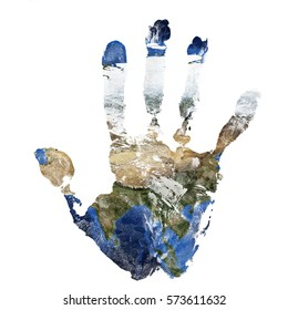 Real hand print combined with a map of Asia of our blue planet Earth - isolated on white background.