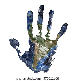Real hand print combined with a map of South America of our blue planet Earth - isolated on white background.