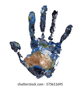 Real hand print combined with a map of Australia of our blue planet Earth - isolated on white background. Elements of this image furnished by NASA