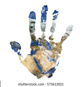 Real hand print combined with a map of The Middle East - of our blue planet Earth - isolated on white background.