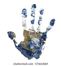 Real hand print combined with a map of North America - of our blue planet Earth - isolated on white background. Elements of this image furnished by NASA