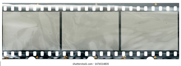 real high res 35mm filmstrip with empty frames or cells in foil on white