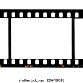 Real high res scan of 35mm film frame or dia film strip on white