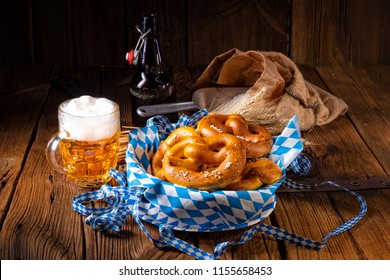 real homemade bavarian salty pretzel with beer