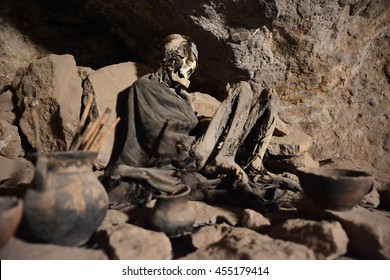 Real human mummy in cave, Altiplano platue, Bolivia