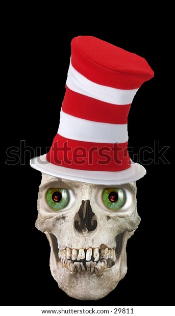 a real human skull photoshopped with green eyes and a stove top hat on a black background