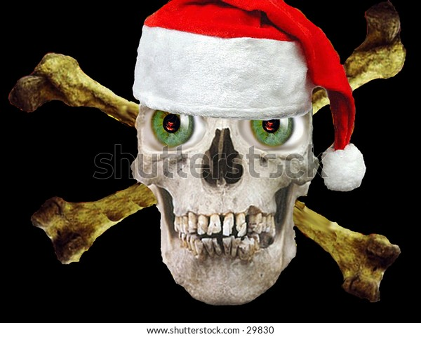 a real human skull photoshopped with green eyes  and a santa hat on a black background