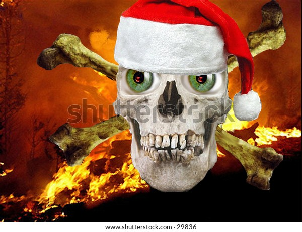 a real human skull photoshopped with green eyes  and a santa hat on a fire background