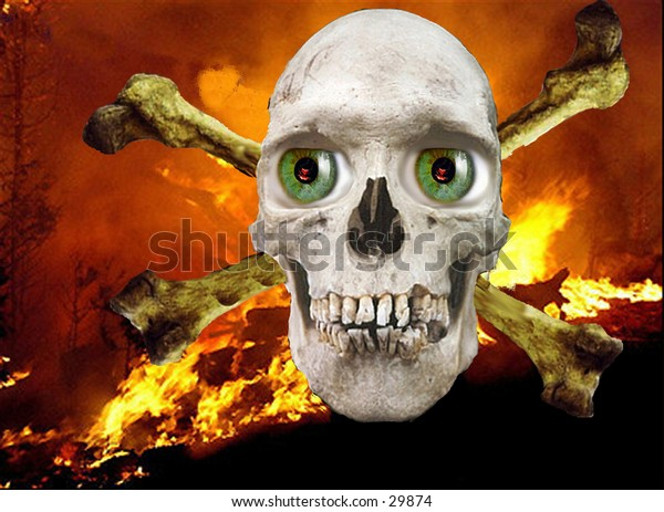 a real human skull photoshopped with green eyes on a fire background