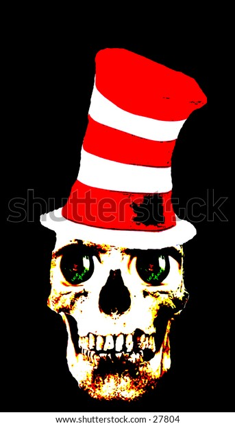 a real human skull in a red and white striped stove top hat with bright green eyes
