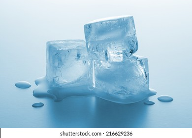 real ice cubes melting